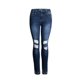 Chinese  2018 new high elastic jeans for women, fashion beaded hole summer leggings ladies denim trousers sexy woman pants manufacturers