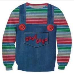 Wholesale The Evil Good Guys Toy New Fashion Women Men Halloween Chucky Funny D Printed Sweatshirts Hoody Long Sleeves Tops S XL B25