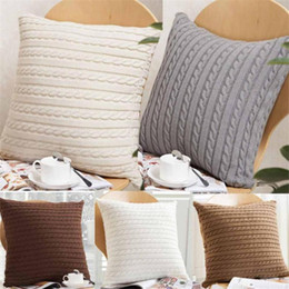 $enCountryForm.capitalKeyWord NZ - New 17 colors Pillow Cover Button Knitted Twist Decorative Cable Knitting Patterns Cushion Cover Square Pillow Case 45X45CM Xstmas Gift