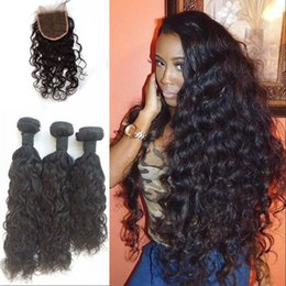 Wholesale Water Wave Virgin Hair Bundles With Lace closure Brazilian Human Hair Extensions Human Hair Products FDSHINE