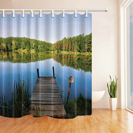 $enCountryForm.capitalKeyWord Canada - Cheap Pier Landscape Fashion Shower Curtain 69 X 70 Inch Polyester Fabric Waterproof Mildew Bathroom Supplies Blackout Hanging Curtains