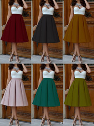 Wholesale High Waist Pleat Elegant Skirt Green Black White Knee Length Flared Skirts Fashion Women Faldas Saia XL Plus Size Ladies Jupe