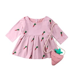 China Pudcoco Brand New Kid Baby Girls Dress Long Sleeve Carrot Print Dress For Girls Autumn Winter With Crossbody Bags supplier long bags for girls suppliers