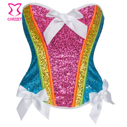 Wholesale rainbow woman costume for sale – custom Rainbow Sequin Corset Top Women Burlesque Neon Rave Clothing Sexy Corsets Espartilho Sequin Unicorn Costume Kit Corpete Corselet