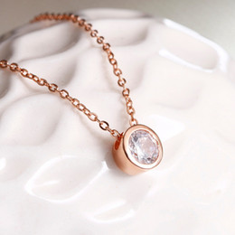 rose pendant jewellery NZ - Top Quality Simple Style Crystal Pendant Necklace Silver Rose Gold Color Fashion Jewellery Crystal Necklaces For Women XT