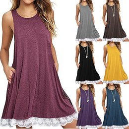 Cotton T Shirts Lace Canada - Plus Size Dress Sleeveless Cotton with Pockets Women Casual Lace Tunic Swing T-Shirt Dresses Chemises Loose Dress