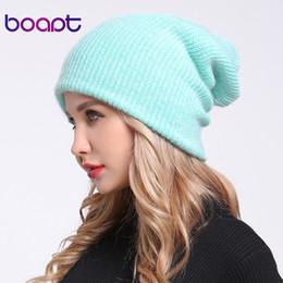 Beanies For Winter Australia - [boapt] double-deck soft rabbit knitting thick bonnet warm caps solid winter hats for women's hat skullies beanies female cap S18101708