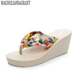 7684c1783 2017 bohemian women shoes beach slippers high-heeled satin sandals flip  flops zapatos mujer s230