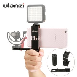 Tripod hoT shoe online shopping - Smartphone Filmmaker Video Rig Metal Phone Tripod Mount with Hot Shoe with Hand Grip Holder Microphone Plate for iPhone