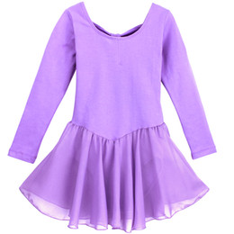 childrens ballet UK - childrens fille girls Meisje zomer long sleeve danse dance costumes kostum purple tutu chiffon skirt ballet balerina exercises leotard dress