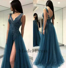 Open back high slit prOm dresses online shopping - 2018 Sexy A Line Prom Dresses Sheer Neck Tulle High Split Slit Open Back Formal Evening Gowns Fashion Girls Graduation Party Dresses