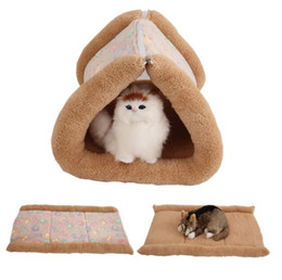fall bedding UK - 2 in 1 Pet Cat Bed Puppy House Soft Fleece Dog Bed Blankets Fall and Winter Warm Nest Kennel Chihuahua Cat Mats Sleeping Bag