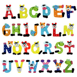 baby alphabet learning 2018 - 26pcs fridge magnetss Set for kids Baby Kid Unisex Kids Educational Learning Toy Wood Letters Alphabet Fridge Magnet Hot