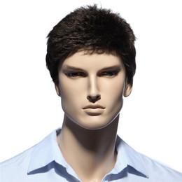 $enCountryForm.capitalKeyWord UK - Straight Short Men Wigs Heat Resistant Japanese Fiber Dark Brown Natural Hair Male Synthetic Wig Black Color Men Toupee