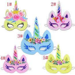 Glitter papers online shopping - 5styles Glitter Unicorn cartoon Paper Mask Kids Baby Birthday Party Unicorn Paper Headbands Rainbow Flower Novelty Games masks FFA595
