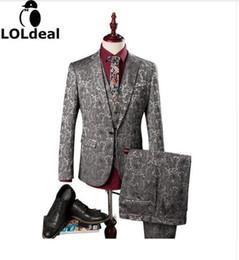 designer tuxedo vests 2019 - (Blazer+Pants+Vest) Herren Anzug Hochzeit Vines Floral Patterns Mens Designer Clothes Fashion Tuxedo Luxury Costume Homm