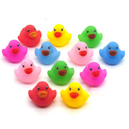 bath toys ducks 2019 - 12pcs Baby Bathroom Water Pool Funny Toys for Girls Boys Gifts Kawaii Mini Colorful Rubber Float Squeaky Sound Duck Bath