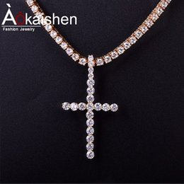 $enCountryForm.capitalKeyWord Australia - Hot seller Men Women's Diamonds Cross Pendant Necklace Hip Hop Jewelry AAA Cubic Zircon for 5mm Tennis Chain For Drop shipping