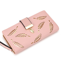 credit card portefeuille UK - 2018 Women Wallet Purse Female Long Wallet Gold Hollow Leaves Pouch Handbag For Women Coin Purse Card Holders Portefeuille Femme
