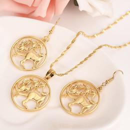 $enCountryForm.capitalKeyWord UK - Round Frame Kangaroo Earring Pendant Necklace 14k Solid fine gold Filled Jewelry sets Australian Coin Cut New animal Vintage