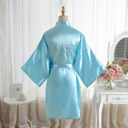 """China """"Mother of the Bride"""" Robe on the Back Wedding Robe Silk Satin Kimono Fashion Night Short Dressing Gown For Women supplier yellow wedding dress for mother bride suppliers"""