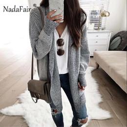 Venta al por mayor de Nadafair casual a cuadros cardigans largos mujeres puntada abierta manga larga gruesa suelta suéter vintage 2018 ropa de invierno mujer