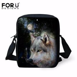 Wolf Backpacks Australia - FORUDESIGNS Cool Wolf Printing Boys School Bags  Small Kids Mini Messenger Bag 60e9601d50e78