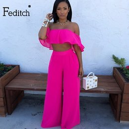 d993ea2bc67 Feditch 2018 New Summer Sexy Jumpsuit loose Outfits Women Romper Elegant  Crop Tops Long Pants Slash Neck Woman overalls vadim