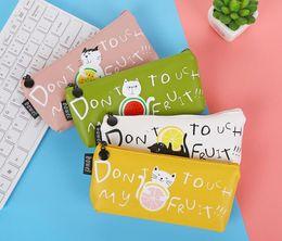 Cat pen Case online shopping - Attractive design student pen bag delicate pencil case PU cat and friut print pencil bag