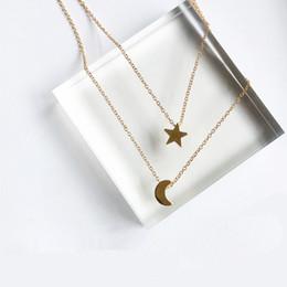 Wholesale Pendant Sets NZ - x197 Fashion Jewelry Gold Color Moon Star Sun Pendant Necklaces Crescent Pendant Long Necklaces For Women 2 Pieces Set Wholesale