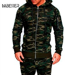 Wholesale workout tracking for sale – designer NIBESSER Male Camouflage Jacket Suit Pc Muscle Men Workout Track Suit Mens Tracksuit Top Pants Set Hoodie Trouser