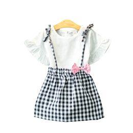 909b22d5 Ideacherry Girls Summer Short Clothing Sets Cotton Plaid Baby Girl Clothes  Bowknot T-Shirts Dress 2Pcs Suits Children's Sets