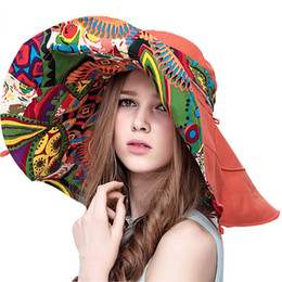 Chinese  Sun Hats Hats For Women Summer Large Beach Hat Flower Printed Wide Brim Collapsible Ladies Summer Sunhat manufacturers