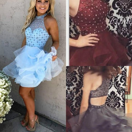 Red Prom Dresses For Juniors Australia - Sexy Beads Tiers Sheer Homecoming Dresses for Juniors Tulle Plus Size Crystal Short Prom Dress Party Ball Gowns Graduation Club Wear Cheap