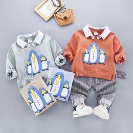 Penguin Kids Clothes Australia - 2pcs Kids Baby Boys Cotton Penguin Coat T Shirt+Pants Toddler Casual Clothes Sets