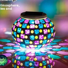 $enCountryForm.capitalKeyWord Canada - Garden Solar Lights Waterproof Mosaic Glass Ball Color Changing Solar Powered Lamp for Christmas Home Yard Patio Night Light