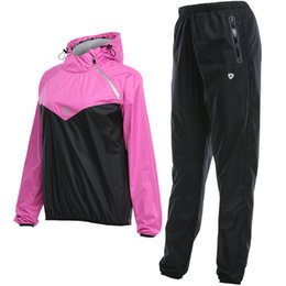 Yoga Pants Jacket UK - Women Sauna Suit Jacket+Pants Set Sport Training Fitness Sports Suit Running Yoga Fast Sweating To Lose Weight Gym Clothes