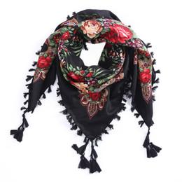 Scarfs Cotton Australia - 2017 New Russian Ethnic Style Square Shawl andmade Cotton Print Muslim Women Brand Scarf Tassel Headband Global Selling