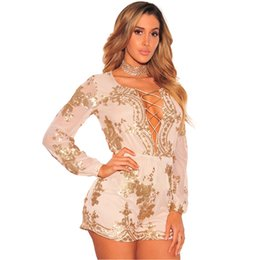 8ceafce2301 2018 Floral Sequined Beach seaside Spring Winter women fashion Jumpsuits  Casual bodycon bandage Sexy Playsuits Rompers