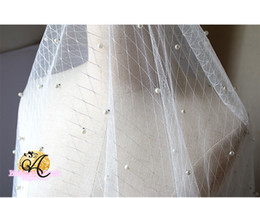 White Pearl Mesh Canada - 165CM Width White pearls Beading tulle fabric with bounce diamond mesh bride veil fabric wedding dress gauze clothing materials CL02