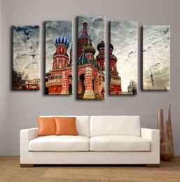 Famous Canvas Prints Australia - Famous Places castle Basils Cathedral Moscow Russia painting 5 panels for wall decor Canvas Print art Print Canvas unframed art