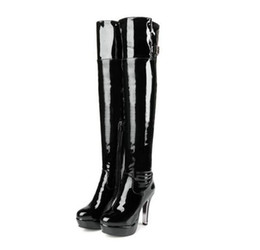 China Patent Leather Sexy Thigh High Heel Boots Winter Women Over the Knee Boots Plus Size Shoes Platform Round head side zipper Red Black Color cheap patent leather platform sexy shoes suppliers