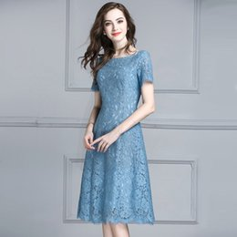 $enCountryForm.capitalKeyWord Australia - yingaoxuefei Summer new style fashion simple explosion models hot trend commuter short-sleeved long section Slim lace dress