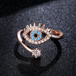 Eye Ring Accessories NZ - Fashion devil's eye rings for women Creative gold plated open ring Party accessories