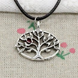 $enCountryForm.capitalKeyWord NZ - Creative Fashion Antique Silver Pendant life tree 27*27mm Necklace Choker Charm Black Leather Cord Handmade Jewlery