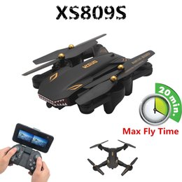 Helicopters Toys Camera Australia - XS809S BATTLES SHARKS Foldable Selfie Drone With 2MP Wide Angle HD Camera Foldable RC Quadcopter Max Flying 20 Mins RTF RC Helicopter Toys