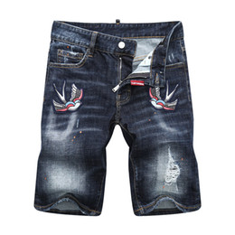 China New Arrive 2018 High Quality Summer Casual Denim Shorts Men Jeans Bird embroidery printing Cotton Hole Ripped Brand Clothing Size 28-38 7921 suppliers