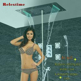 Ванная комната душ набор аксессуаров скрытый кран панели кран Термостатический смеситель светодиодный потолок душевая головка дождь водопад пузырь душ СПА Дуча на Распродаже
