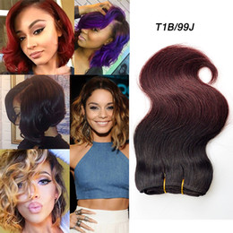 Discount human hair bob weaves - Fashion Ombre Brazilian Hair Body Wave Bundles 4pcs 8 Inch Short Bob Wave No Tangle No Shedding Two Tone Human Hair Exte