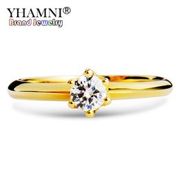 $enCountryForm.capitalKeyWord NZ - YHAMNI Real Pure 925 Sterling Silver Wedding Rings Gold Color Cubic Zirconia Solitaire Band Engagement Rings For Women XR040